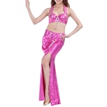 VENI MASEE Belly Dance Hotpink Sequine Fringed Costume Set--Top Bra & Split Skirt, Belly Dancing Costume, Price/Set
