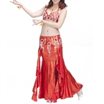 VENI MASEE Belly Dance Diamond Sequined Costume Set--Top Bra & Split Skirt, Belly Dancing Costume, Price/Set