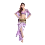 VENI MASEE Gauze Horn Sleeve Belly Dancing Costumes Set--With Gold Coins Wrap , Price/Set