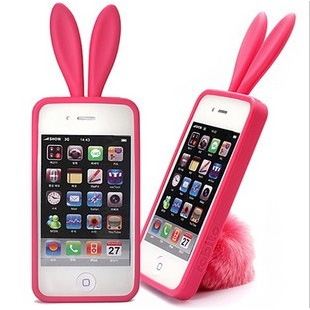 HOTER® Rabito Apple iPhone 4 3D Ear with Tail Silicon Case
