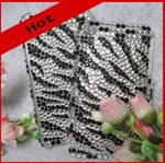 HOTER® Bling Zebra-stripe Desigh Diamand Crystal Snap-on Case for Apple iPhone 4 3G/3GS