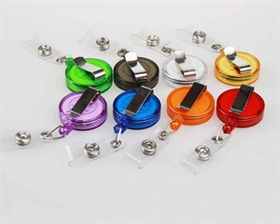 Wholesale Retractable Translucent ID Card Reel/Key-ID-Badge With Metal Slide Belt Clip, Assorted Colors