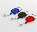 Wholesale Oval Retractable Translucent Quick Clip ID Card/Badge Reel, Carabiner Style, Assorted Colors