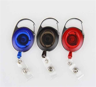 Oval Retractable Translucent Quick Clip ID Card/Badge Reel, Carabiner Style, Sold Individually