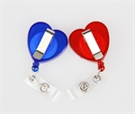 Wholesale Retractable Translucent ID Card Reel/Key-ID-Badge With Metal Slide Belt Clip, Heart-Shape Style, Assorted Colors