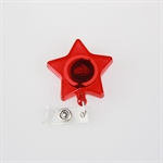 Wholesale Retractable ID Card Reel/Key-ID-Badge With Metal Slide Belt Clip, Star-Shape Style, Translucent Red