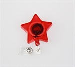 Retractable ID Card Reel/Key-ID-Badge With Metal Slide Belt Clip, Star-Shape Style, Translucent Red, Sold Individually