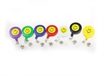 Retractable Solid Smile Face ID Card Reel/Key-ID-Badge With Metal Slide Belt Clip, 7 Colors For Choose, Sold Individually