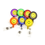 VENI MASEE® 9 Colors ID Badges Card Holder, with Belt Clip, Pack of 9, Assorted Colors, Office Retractable Reel Key Clip Holders with smiling faces