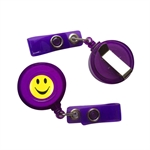 VENI MASEE® 4 Colors ID Badges Card Holder, with Belt Clip, Pack of 10, Assorted Colors, Office Retractable Reel Key Clip Holders with smiling faces