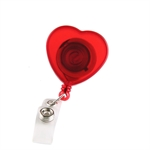 VENI MASEE® Red Heart/Star-shape(assorted) ID Badges Card Holder, with Belt Clip, Pack of 4, Office Retractable Reel Key Clip Holders