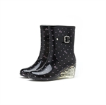 HOTER Latest Fashionable Stylish Glitter Lady Medium Heel Crystal Rain Boots Skidproof/Waterproof Rainy Day/Garden Work/Outdoor Activities