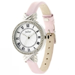 Julius British Style Crystal Circular Disk Fashion Lady Wrist Watch JA-413