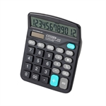 VENI MASEE 12 Digits Standard Function Desktop Dual Power Solar Calculator, AA Battery, Daily Office Business, Gift, Black