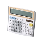 VENI MASEE 12 Digits Standard Function Desktop Dual Power Solar Calculator, Button Battery, Daily Office Business, Gift, Golden