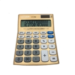 VENI MASEE 12 Digits Standard Function Desktop Solar Calculator, Button Battery, Daily Office Business, Gift, Golden