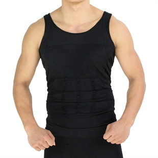 VENI MASEE Mens Slimming Body Shaper Vest Shirt Abs Abdomen Slim, Black