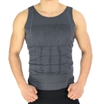 VENI MASEE Mens Slimming Body Shaper Vest Shirt Abs Abdomen Slim, Grey