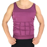 VENI MASEE Mens Slimming Body Shaper Vest Shirt Abs Abdomen Slim, Purple