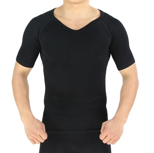 VENI MASEE Mens Nylon Compression V-Neck T-shirt, Black