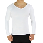 VENI MASEE Mens Nylon Light Compression V-Neck Long Sleeves T-shirt, White