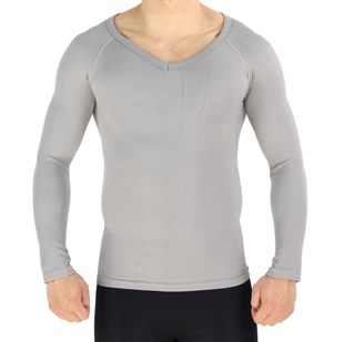 VENI MASEE Mens Nylon Light Compression V-Neck Long Sleeves T-shirt, Grey
