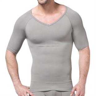 VENI MASEE® Mens Nylon Compression V-Neck T-shirt, Grey