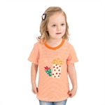 VENIMASEE® Lovely Orange Stripe Gift Pure Cotton Kids Girls T-Shirts