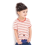 VENIMASEE® Lovely Orange Stripe Rabbit Pure Cotton Kids Girls T-Shirts