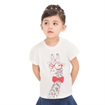 VENIMASEE® Cute White Glasses Giraffe Cartoon Pure Cotton Kids Girls T-Shirts