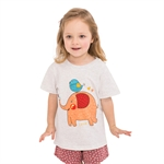 VENIMASEE® Cute White Elephant Cartoon Pure Cotton Kids Girls T-Shirts