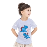 VENIMASEE® Cute Blue Dinosaur Cartoon Pure Cotton Kids Girls T-Shirts