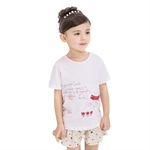 VENIMASEE® Cute White Flower Cartoon Pure Cotton Kids Girls T-Shirts
