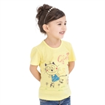 VENIMASEE® Cute Yellow Cat Cartoon Pure Cotton Kids Girls T-Shirts
