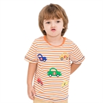 VENIMASEE® Lovely Orange Stripe Car Cartoon Pure Cotton Kids Boys T-Shirts