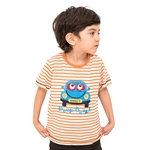 VENIMASEE® Sweet Orange Stripe Beep Beep Cartoon Pure Cotton Kids Boys T-Shirts