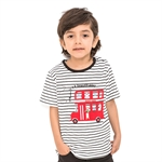 VENIMASEE® Sweet Black and White Stripe Car Cartoon Pure Cotton Kids Boys T-Shirts