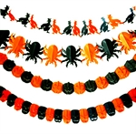 Hoter® Halloween Party Supplies, Black & Orange Skeleton Paper Garland, Pulling Paper Flower For Halloween Decoration, 1 Piece- On Sale!!!