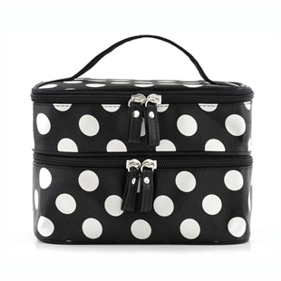 H:oter Women & Girls Polka Dots Double Layer Dual Zipper Cosmetic Bag Toiletry Bag Make-up Bag Hand Case Bag, Gift Ideas--Colors Various