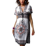 Women Deep V Short Sleeves Printed Bohemia Ethnic Style Summer Short Dress,Print Soft Sexy Cool Beachware,Size S-M