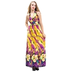 VENI MASEE® SweetyLady Exotic Bohemia Floral Print Silky Long Maxi Dress / Summer Dress, 3 Colors, Price / Piece