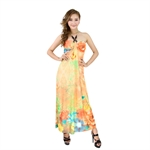 H:oter® SweetyLady Bohemia Exotic Love of Butterfly Multicolor Print Halter Style Silky Long Maxi Dress Summer Dress, 5 Colors