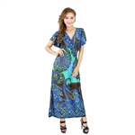 H:oter® SweetyLady Bohemia Exotic Floral Multicolor Print Silky Long Maxi Dress Summer Dress