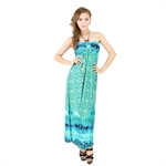 H:oter® SweetyLady Bohemia Exotic Wrap Neck Peacock Print Silky Long Maxi Dress Summer Dress
