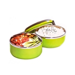 Hoter Fashion Lunch Box 2 In 1 To-Go, 2-Tiered Food Box, Stainless Steel Food Container, Cylindrical Snack Container