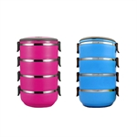 Hoter Fashion Lunch Box 4 In 1 To-Go, 4-Tiered Food Box, Stainless Steel Food Container, Cylindrical Snack Container