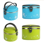Hoter 1 Liter Lunch Box 2 In 1 With 1 Compartment, Stainless Steel Food Container, Cylindrical Snack Container