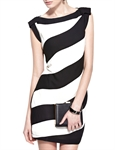 MOONBASA® Color Stripe Elegant Office Ladys' One Piece Dress