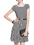 MOONBASA® Black & White Stripe Classic Office Ladys' One Piece Dress