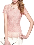 MOONBASA® Women Romantic Lace T Shirt - Pink